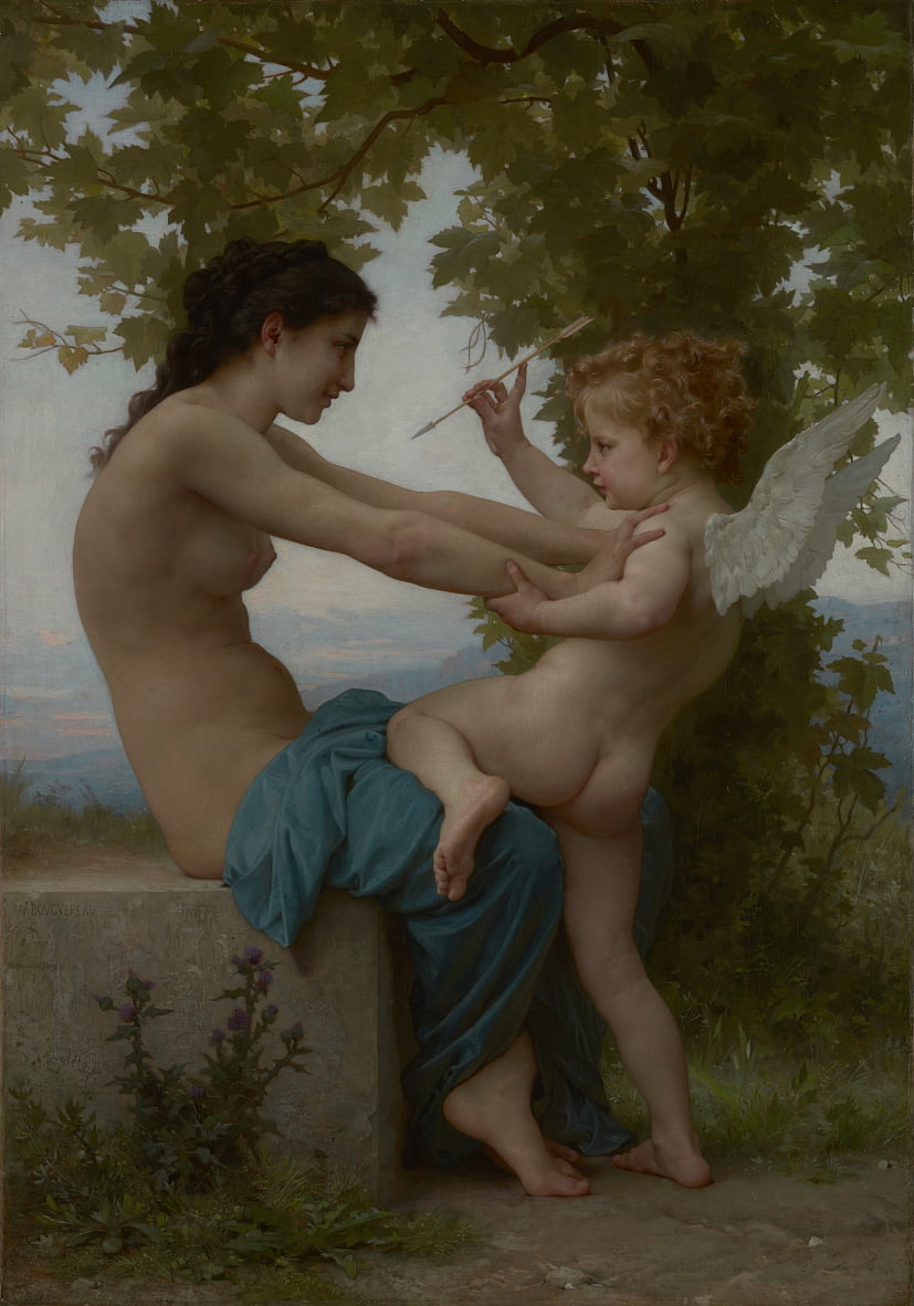 A Young Girl Defending Herself against Eros by William Adolphe Bouguereau