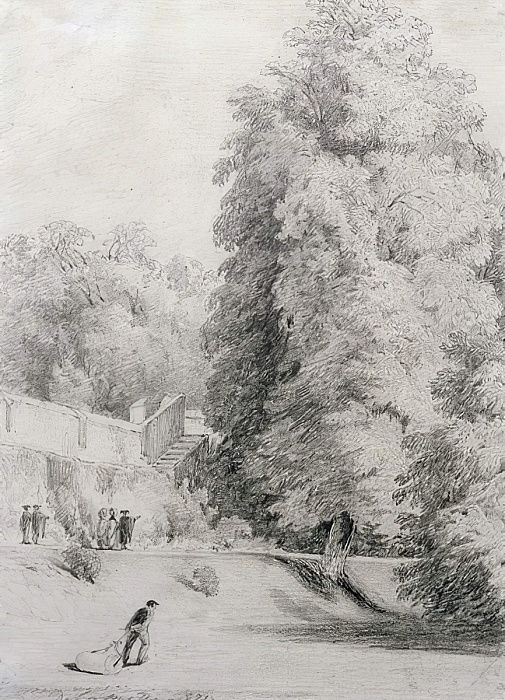 New College Garden, 1821  by William Alfred Delamotte