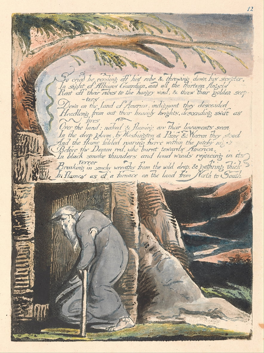 America. A Prophecy, Plate 14, So Cried He.... by William Blake