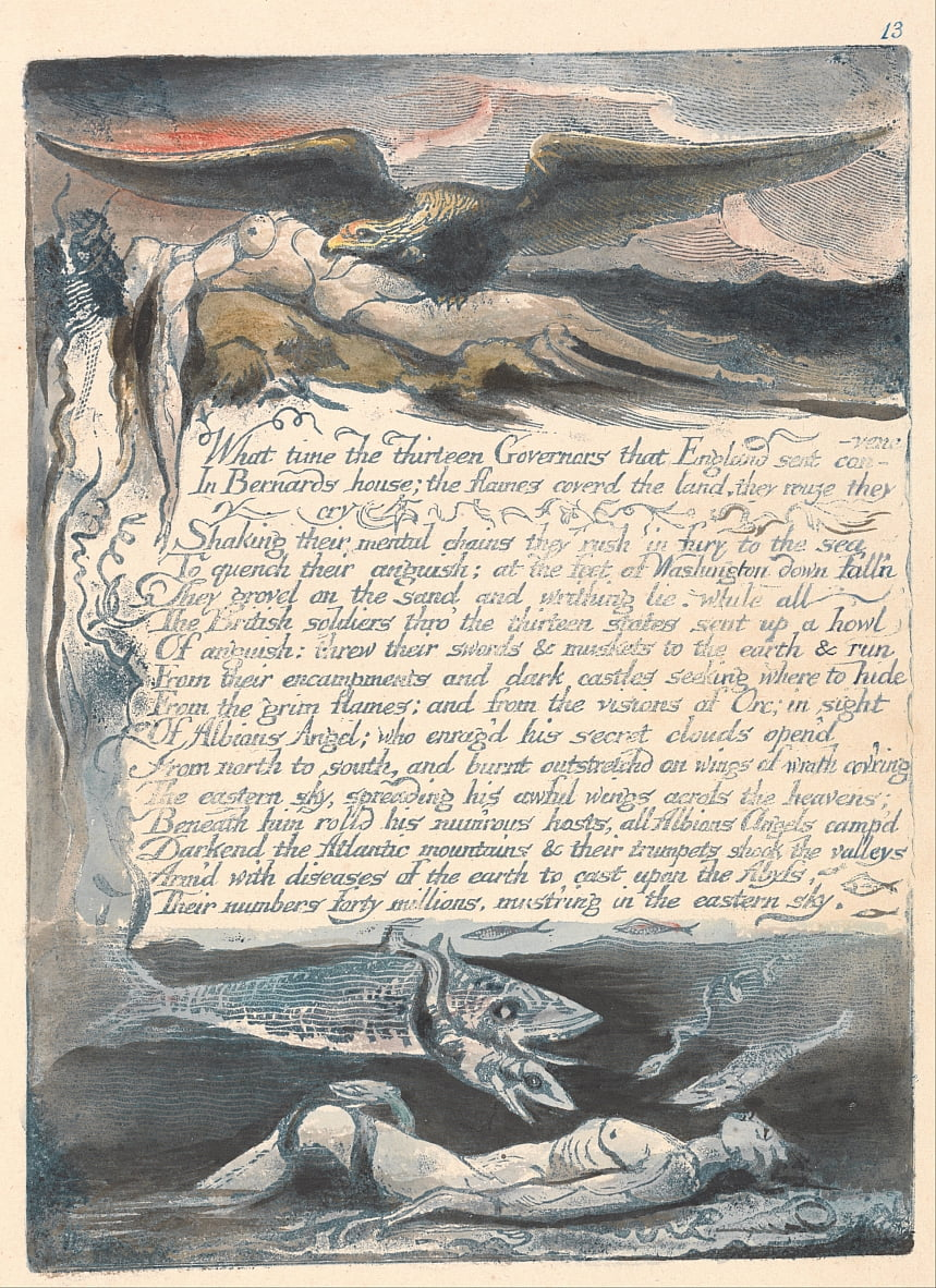 America. A Prophecy, Plate 15, What Time the Thirteen Governors.... by William Blake