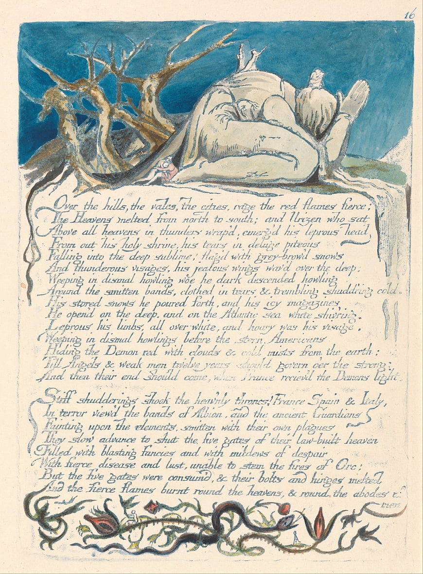 America. A Prophecy, Plate 18, Over the Hills.... by William Blake