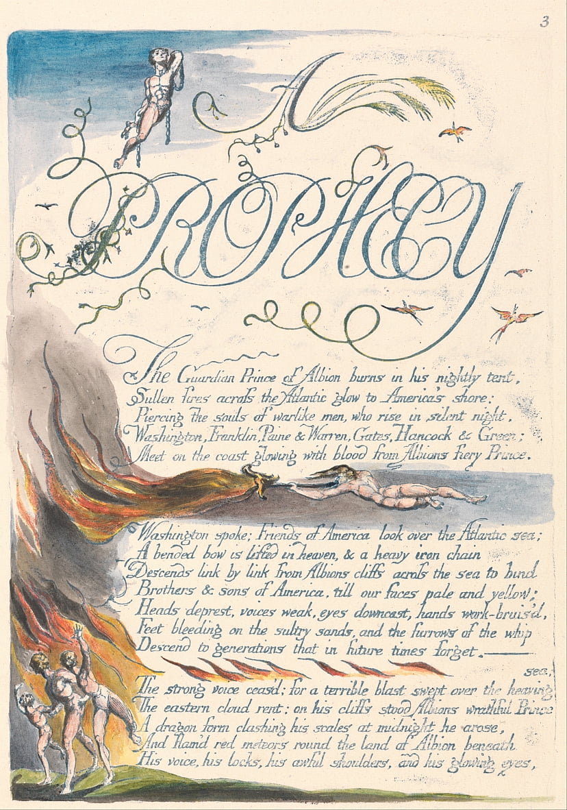 America. A Prophecy, Plate 5, A by William Blake