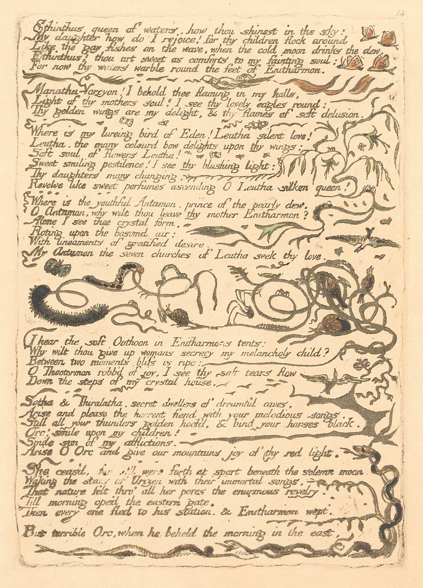 Europe. A Prophecy, Plate 16, Ethinthus queen of waters . . . .  (Bentley 17) by William Blake