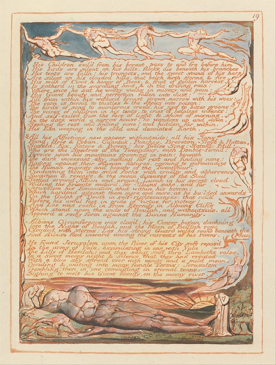 Jerusalem, Plate 19, His children exild from his breast.... by William Blake