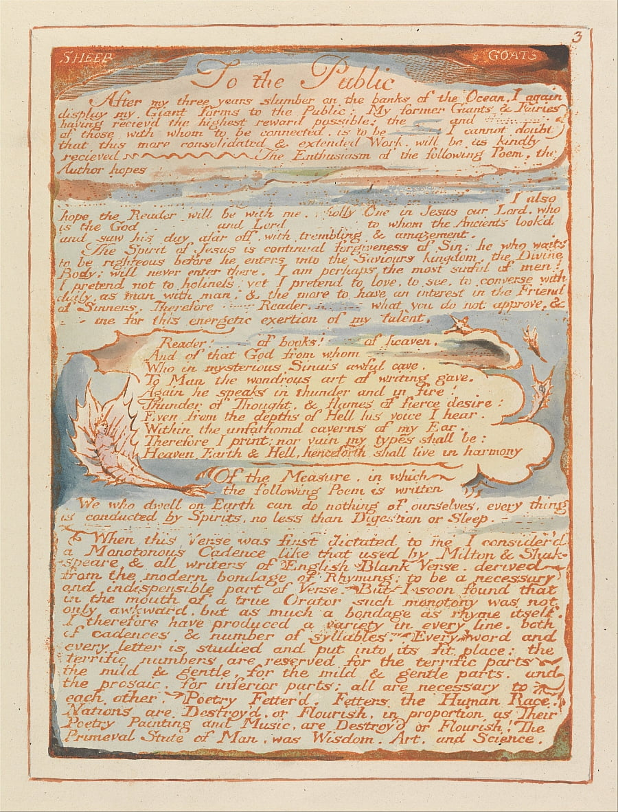 Jerusalem, Plate 3, To the Public.... by William Blake