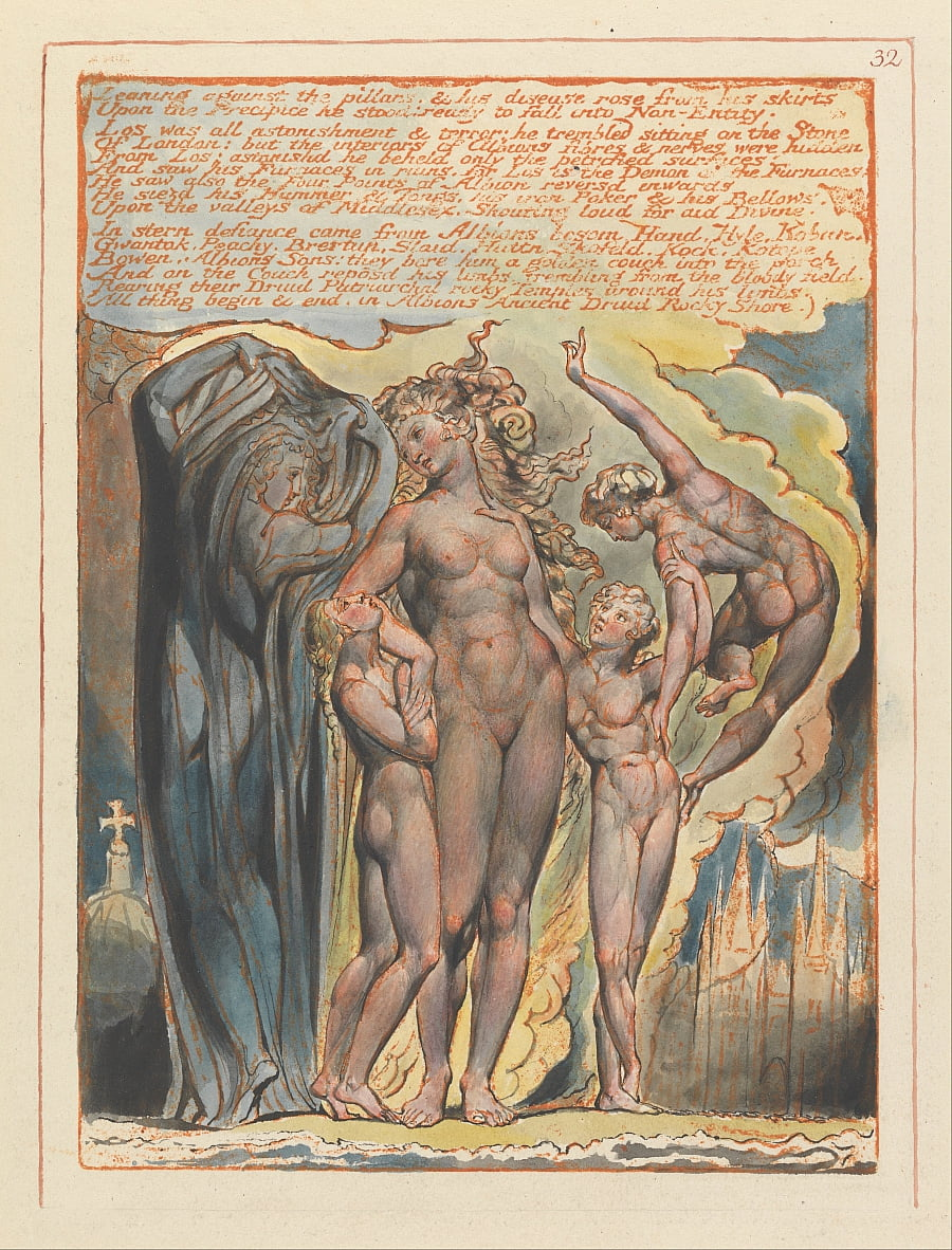 Jerusalem, Plate 32, Leaning against the pillars.... by William Blake