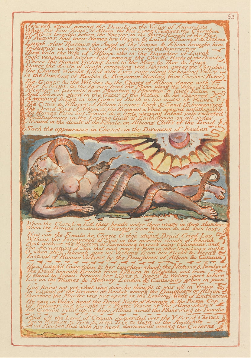 Jerusalem, Plate 63, Jehovah stood among the Druids.... by William Blake