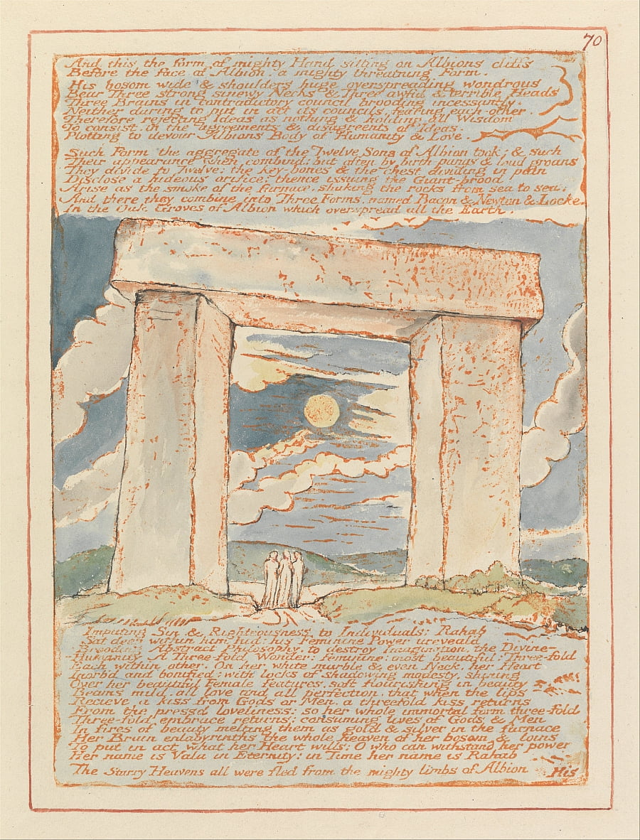 Jerusalem, Plate 70, And this the form of mighty Hand.... by William Blake