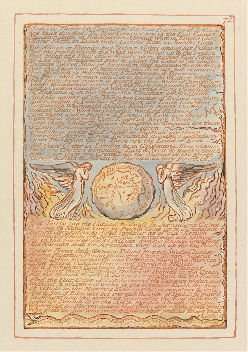Jerusalem, Plate 72, And the Thirty-two Counties.... by William Blake