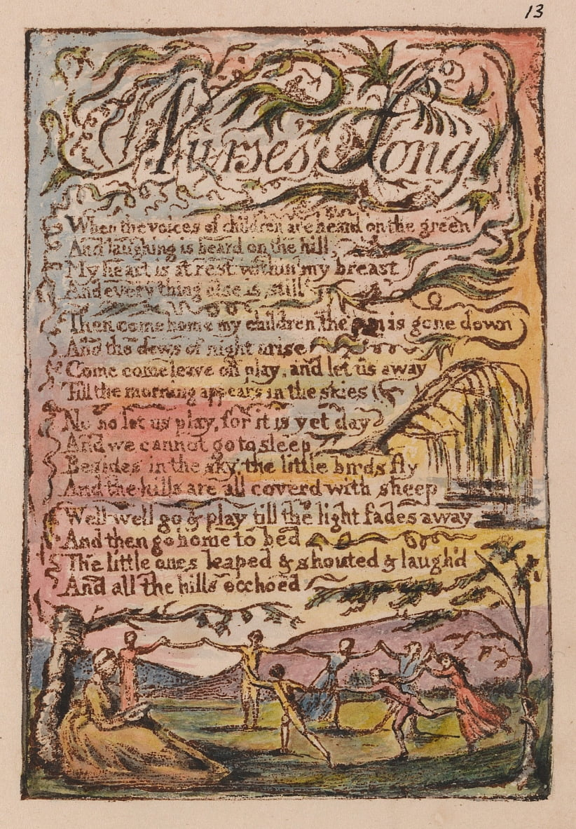Songs of Innocence and of Experience, Plate 13, Nurses Song (Bentley 24) by William Blake