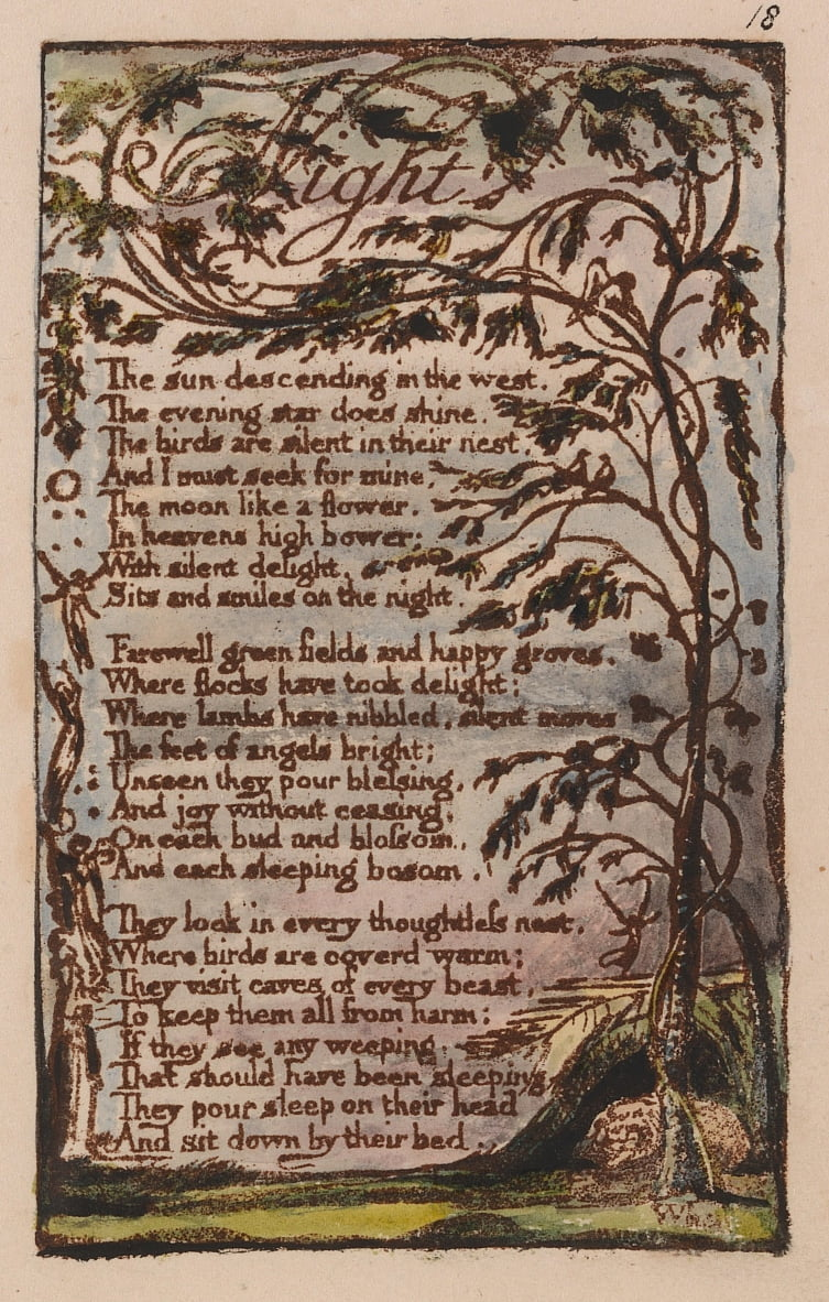 Songs of Innocence and of Experience, Plate 18, Night (Bentley 20) by William Blake
