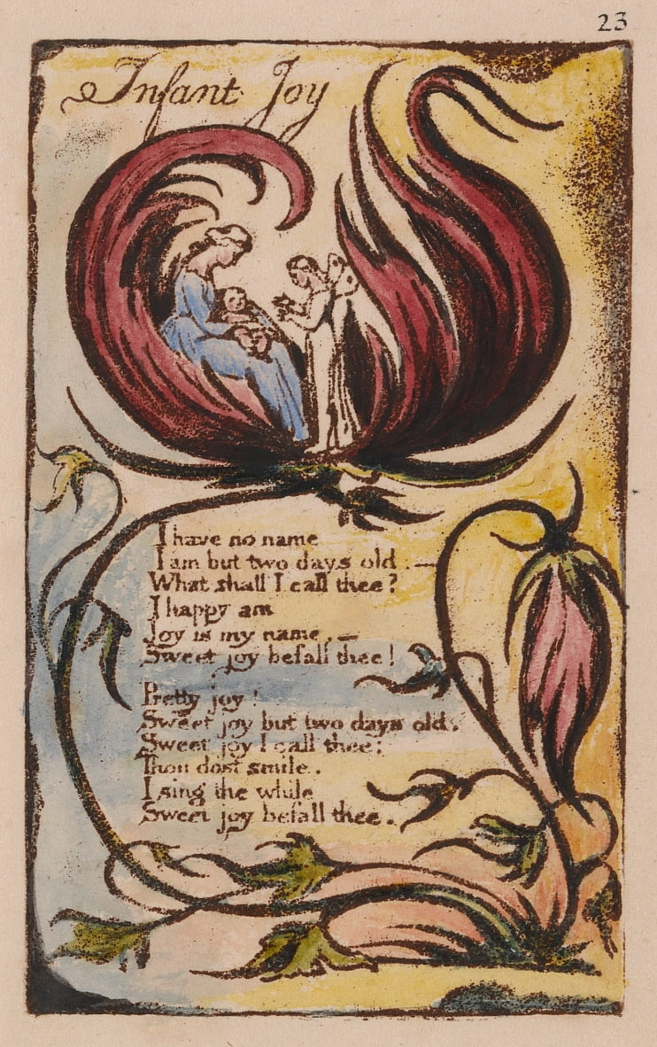 Songs of Innocence and of Experience, Plate 23, Infant Joy (Bentley 25) by William Blake