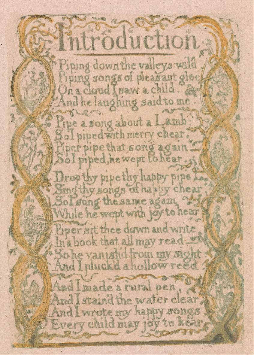 Songs of Innocence and of Experience, Plate 3, Introduction (Bentley 4) by William Blake