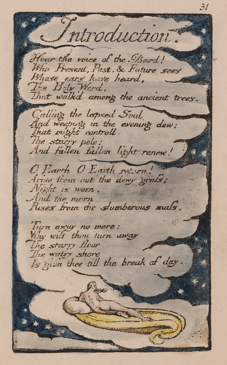 Songs of Innocence and of Experience, Plate 31, Introduction (Bentley 30) by William Blake