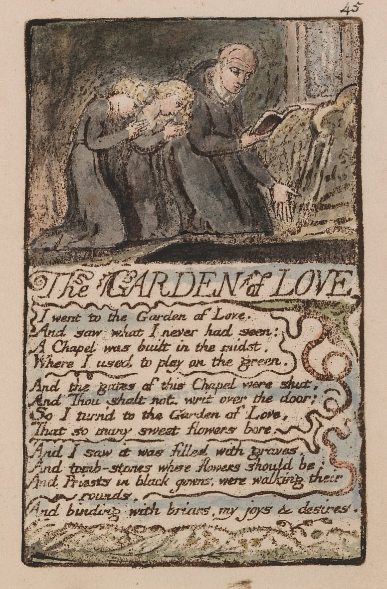 Songs of Innocence and of Experience, Plate 45, The Garden of Love (Bentley 44) by William Blake