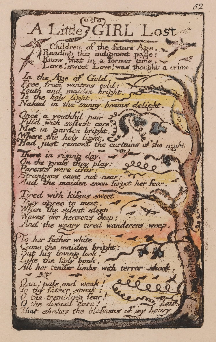 Songs of Innocence and of Experience, Plate 52, A Little Girl Lost (Bentley 51) by William Blake