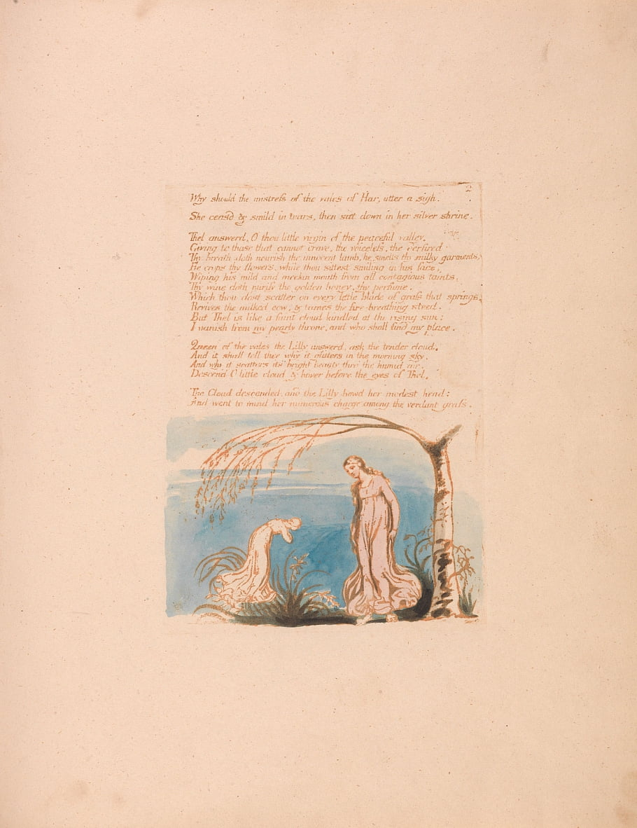 The Book of Thel, Plate 4, Why should the mistress . . . . by William Blake