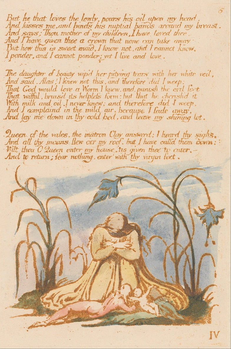The Book of Thel, Plate 7,  by William Blake