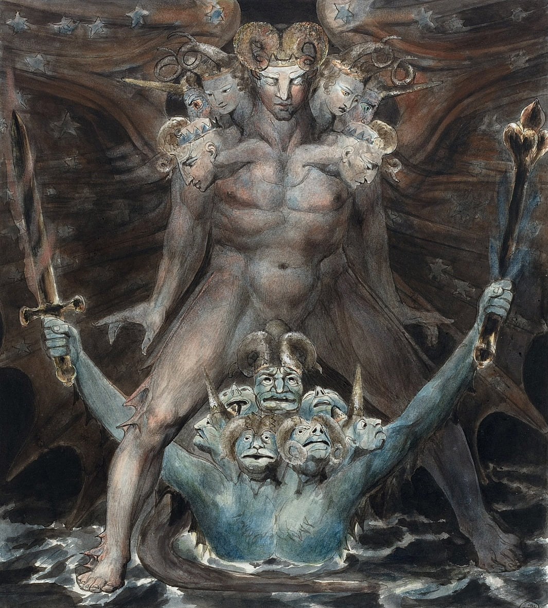 The Great Red Dragon and the Beast from the Sea  by William Blake