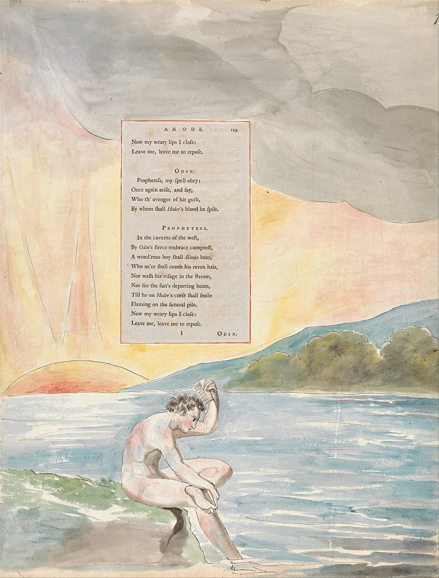 The Poems of Thomas Gray, Design 83, The Descent of Odin. by William Blake