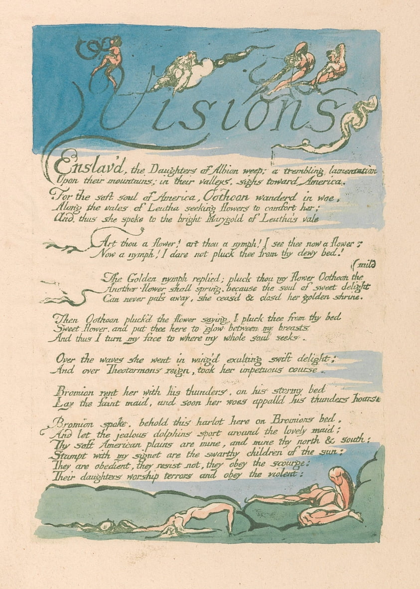 Visions of the Daughters of Albion, Plate 4, Visions by William Blake