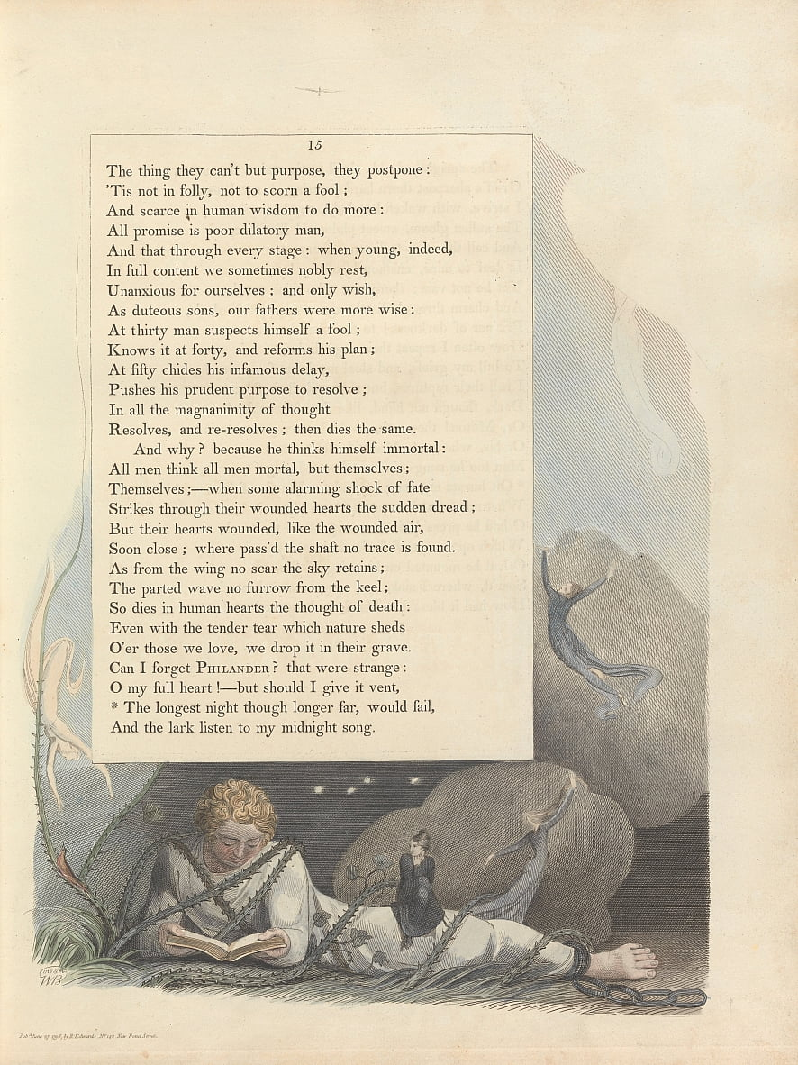 Youngs Night Thoughts, Page 15,  by William Blake