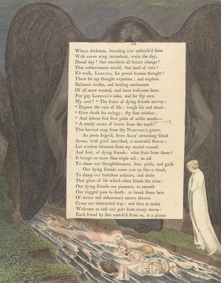 Youngs Night Thoughts, Page 54, The vale of death! that hushd cimmerian vale by William Blake